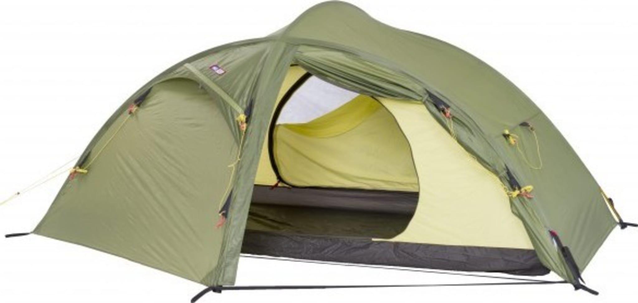 Selvstående telt med to innganger og to bagasjerom for helårsbruk