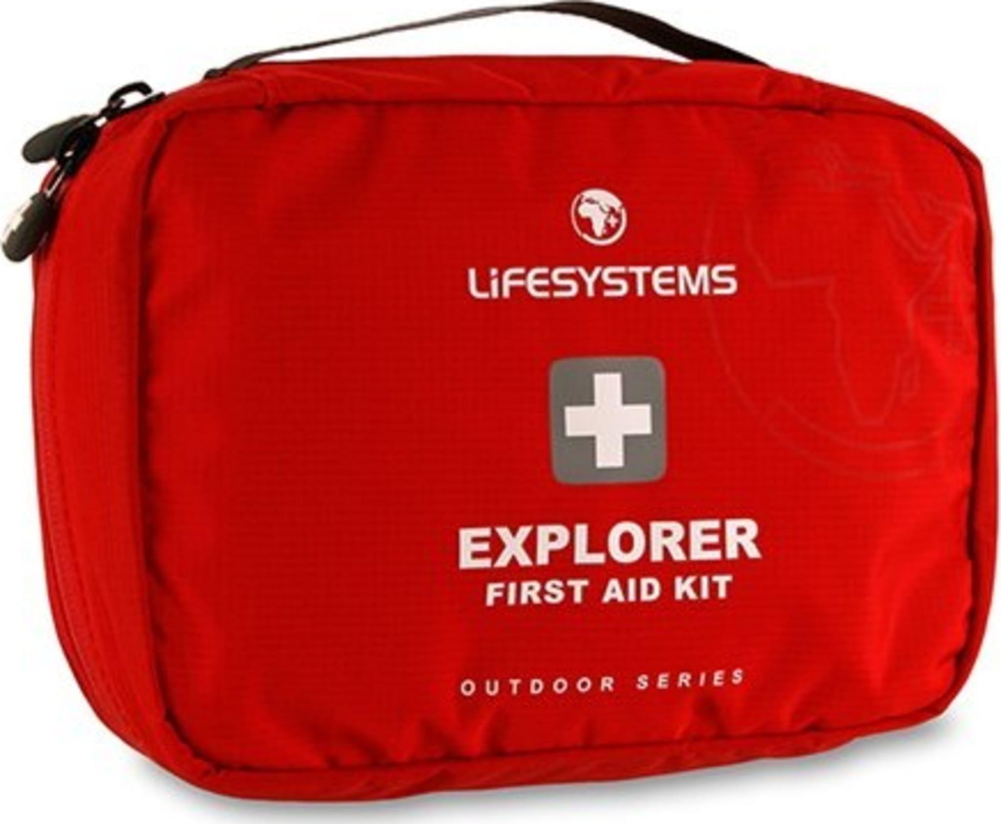 Førstehjelpsutstyr for generelt friluftsliv, i praktisk veske.