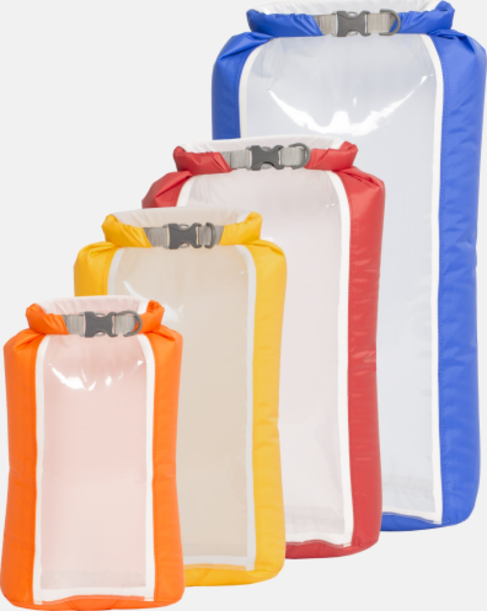 Sett med lette pakkposer med gjennomsiktig vegg