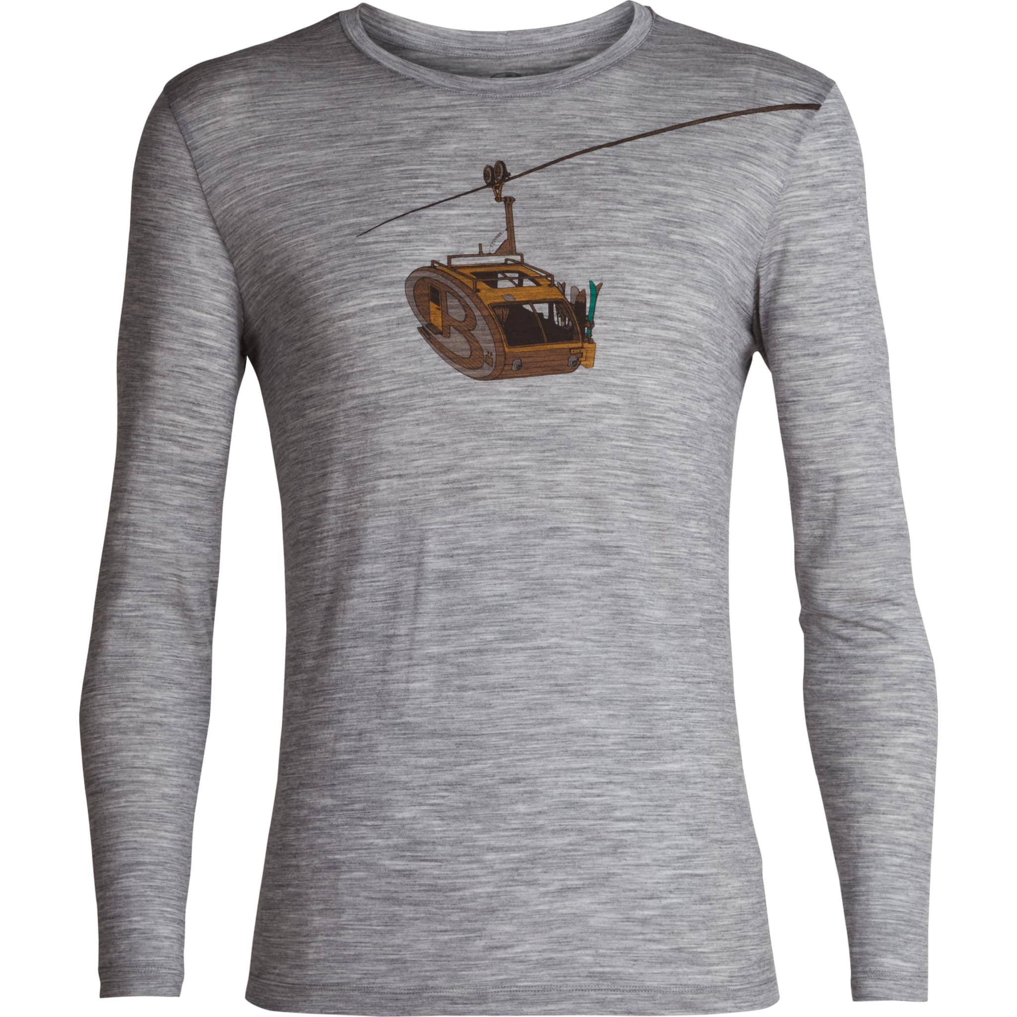 Langermet skjorte i tynn merinoull og med stilig print