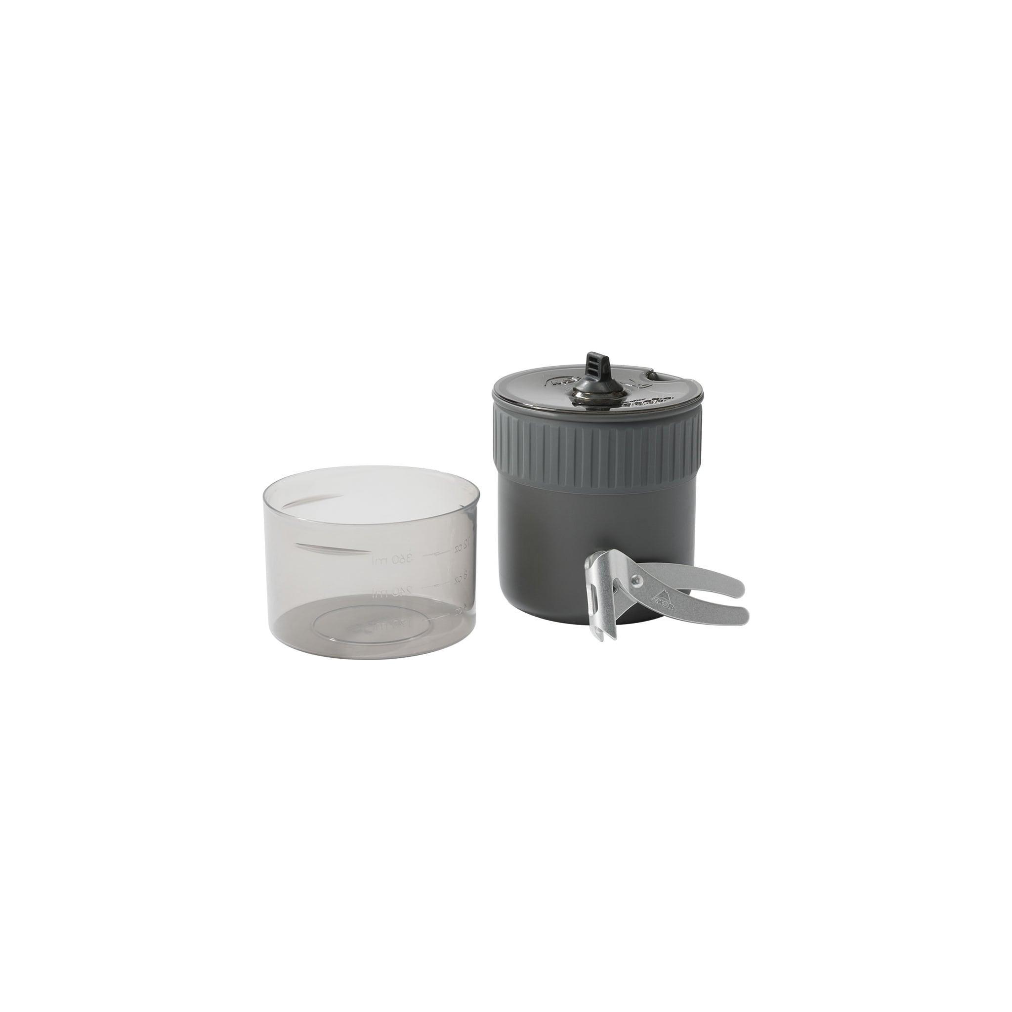 Superlett kjele for vannkoking med plass til brenner og gassboks.