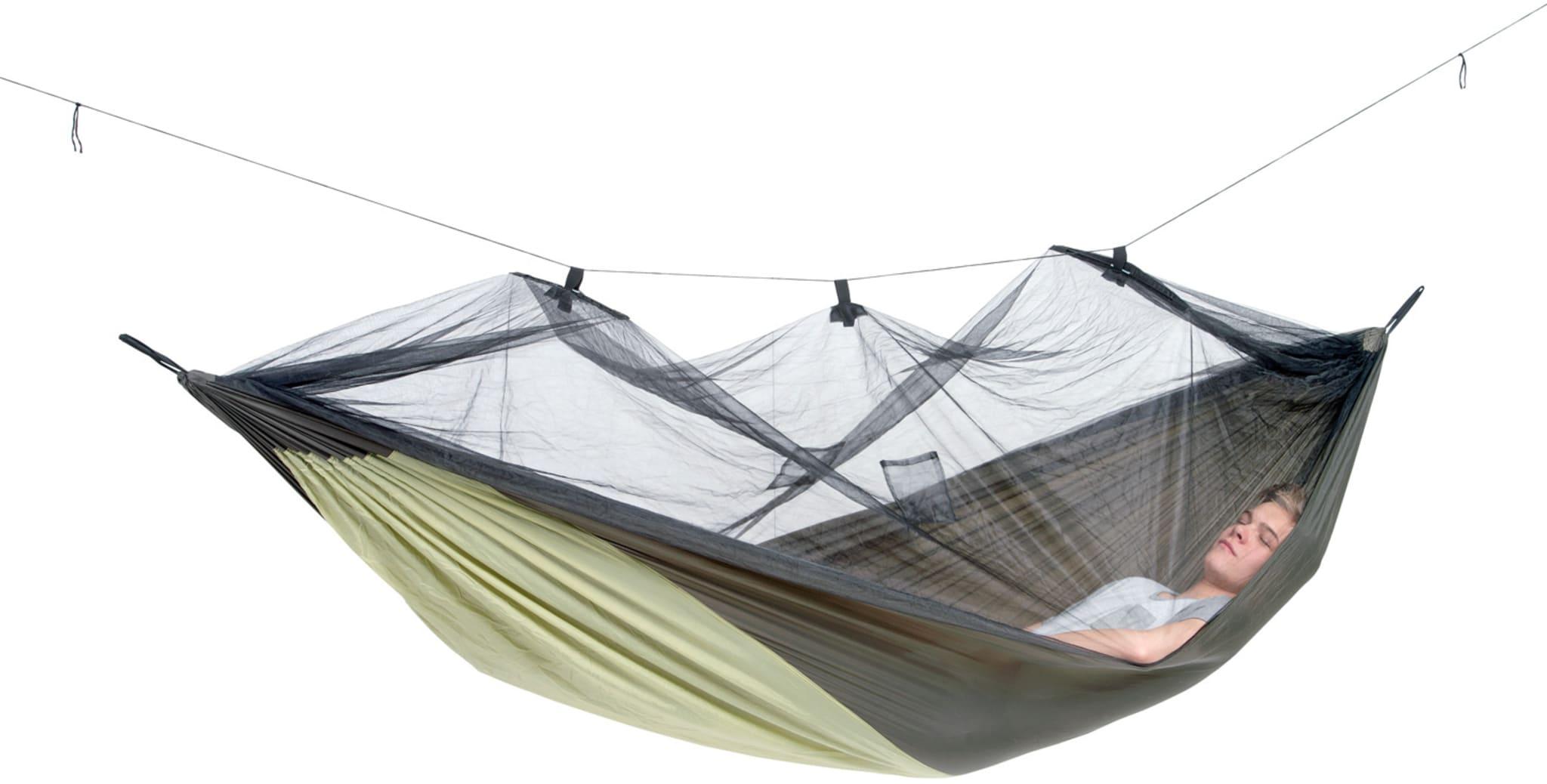 Stor hengekøye med myggnett og lomme for liggeunderlag!