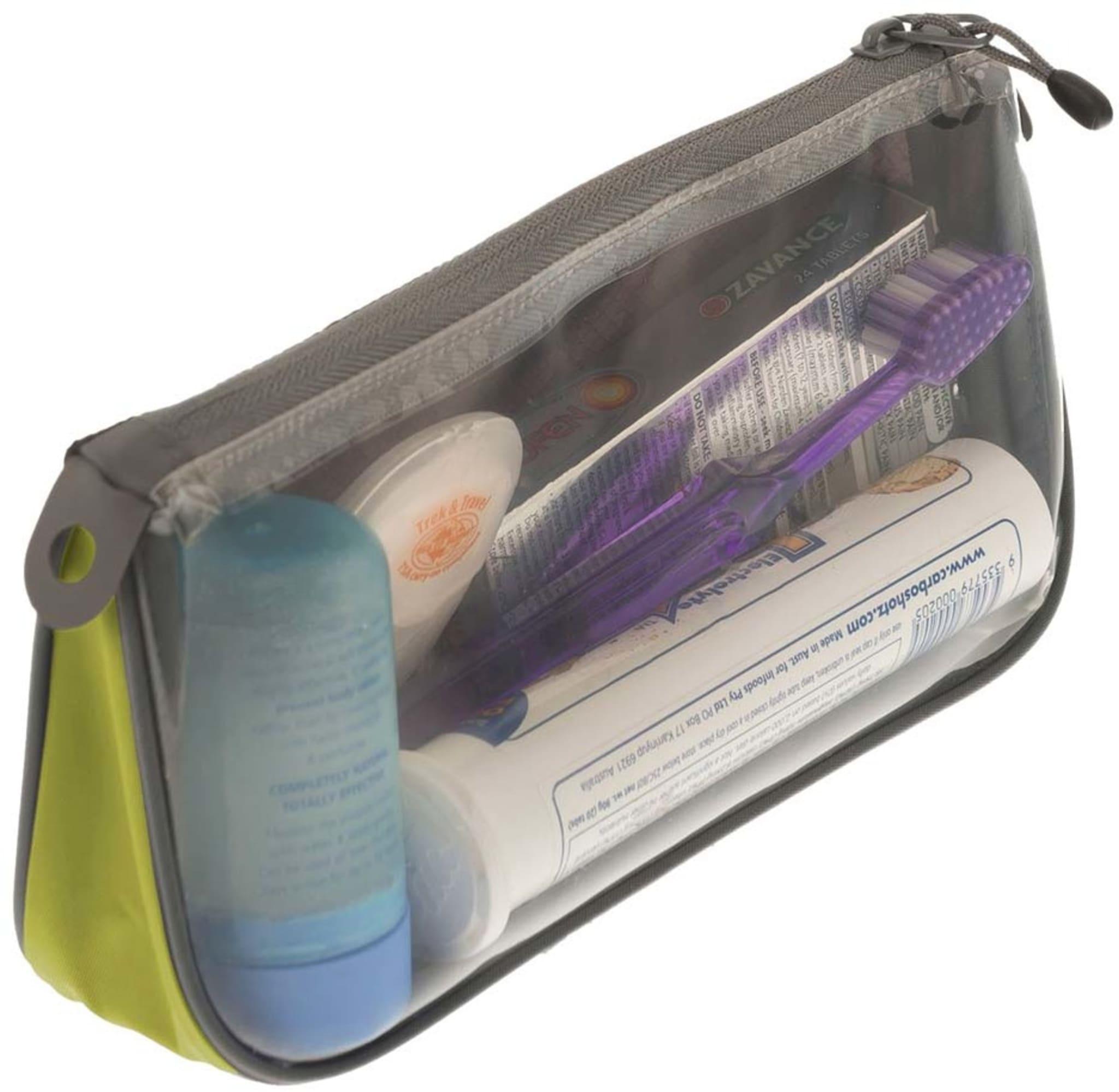 Liten og lett oppbevaringspose med glidelås og en gjennomsiktig side