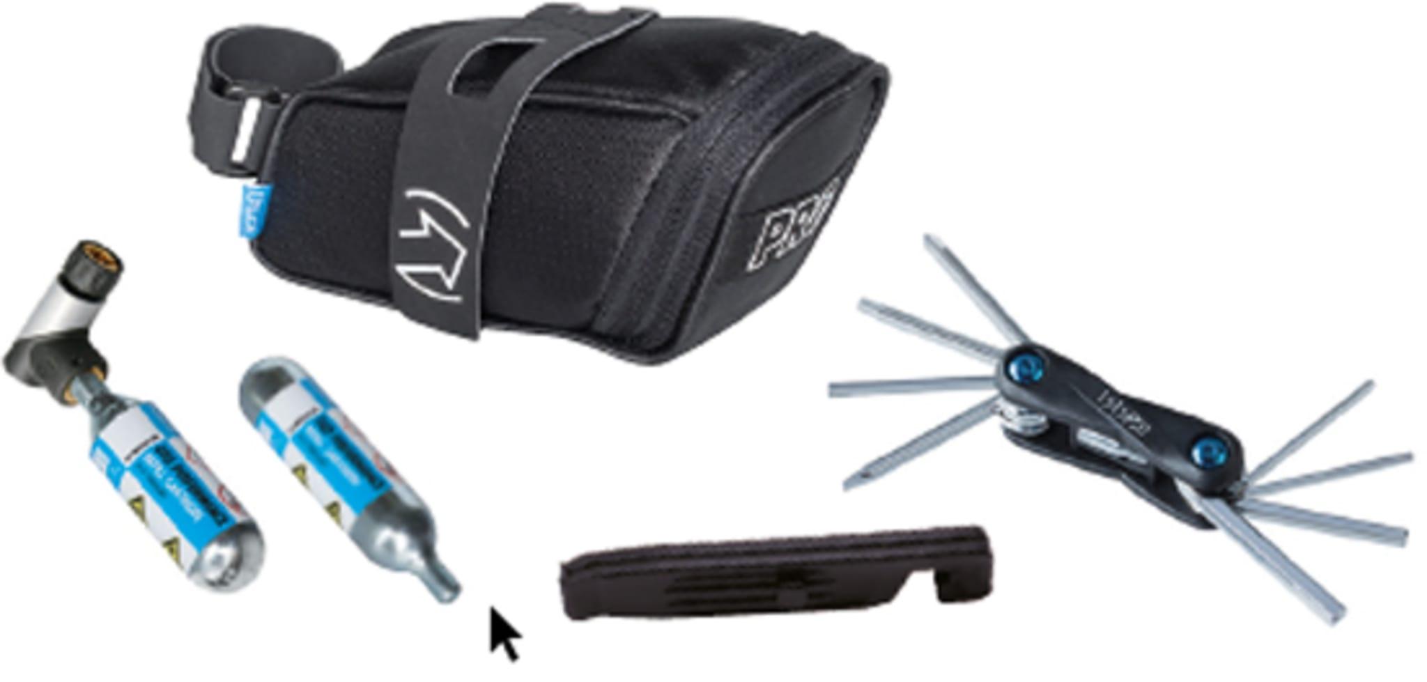 Inneholder Co2 pumpe og patroner, miniverktøy, dekkspak og veske