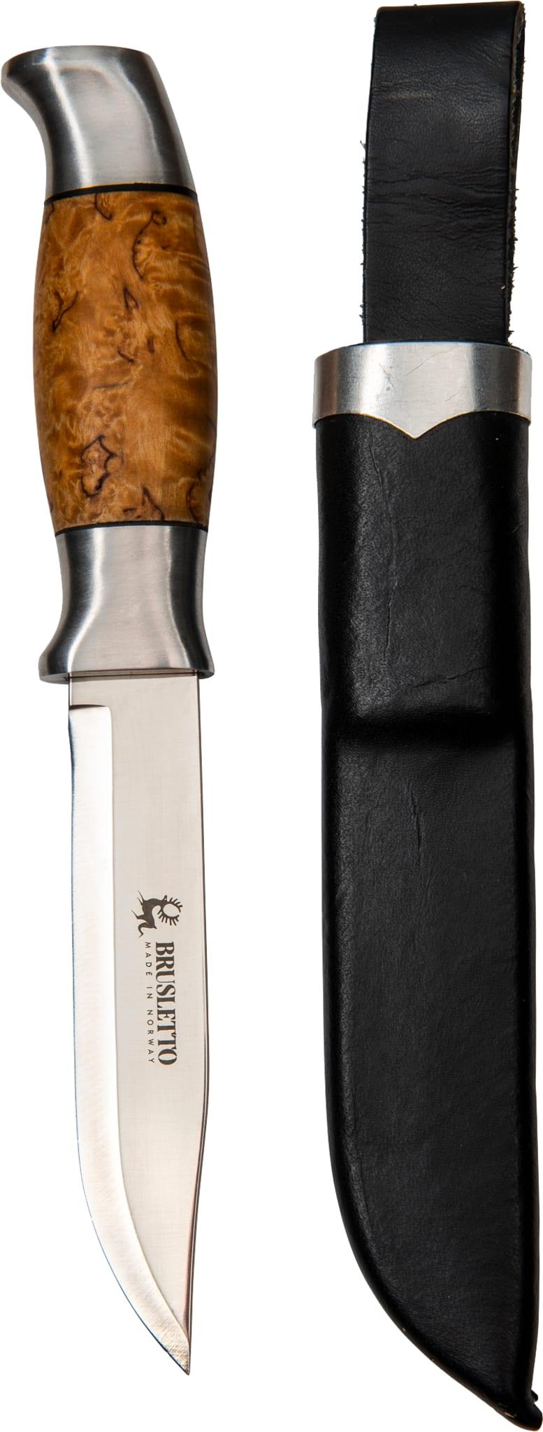 Kraftig kniv med flott skaft i masurbjørk