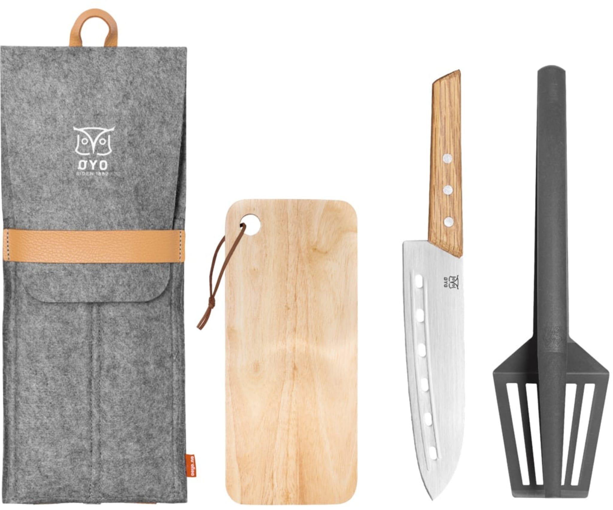Kokkekniv, stekespade og trefjøl